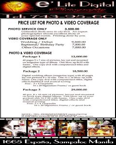e'lite photo & video price list